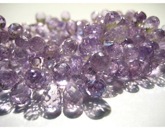 Amethyst - Pink Amethyst Micro Faceted, Tear Drop Beads, Briolette Beads - 7x11mm  Approx - 30 Pieces Approx, 4 Inch Half Strand