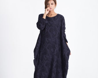 Women's Long maxi dress linen cotton pullover winter warm dress linen caftan plus size clothing large size dress Custom-made dress A15