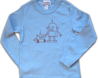 Robot Toddler Tee, Long Sleeve, red on light blue in 2T, 2 year old gift, graphic tee for boys, robot tshirt, T-shirt for 4 year old