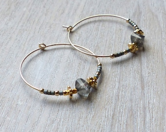 Labradorite, Gold And Grey 30mm Hoops
