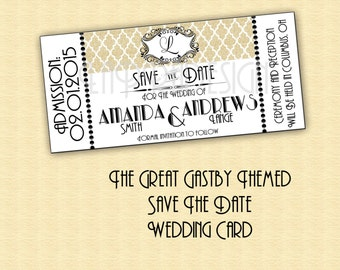 Save The Date Card / The Great Gatsby Save the Date Wedding Card / Gatsby Wedding