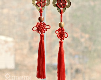 Chinese Coin Lucky Charm Tassel - Feng Shui Goodluck Charm - Car Mirror Charm - Home Decor- Yoga and Tai Chi Gift - Zen Gift - Good Fortune