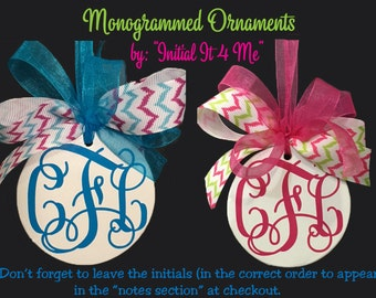 Monogram Christmas Ornament -Personalized Christmas Ornament - Teen Ornament - Personalized Kids Ornament