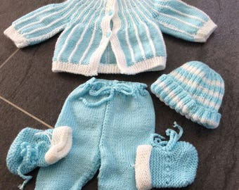 Entire layette jacket pants hat and slippers boy neuff