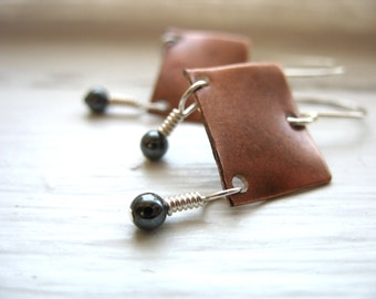 Hematite Earrings, Metalwork Earrings, Hematite Stone,  Copper Hematite Earrings, Copper Stone Jewelry