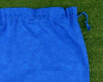 Blue speckled drawstring bag, large library bag, storage bag, toy bag, kindy sheet bag