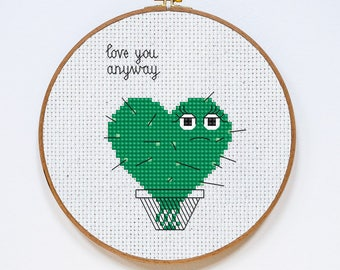 Heart Cross Stitch Pattern, Love You Anyway, Cactus Valentine's Day Cross Stitch Pattern, Cross Stitch Gift, PDF Format, Instant Download