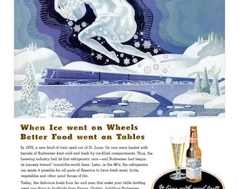 1948 Budweiser Beer & American Bakers Association Ad Vintage Snow Queen Winter Goddess Snowflake Train Fantasy Mythology Tavern Bar Wall Art