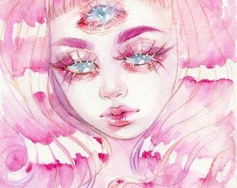 Pink 3 Eyed Girl - 5x7'in / 13x18cm Print