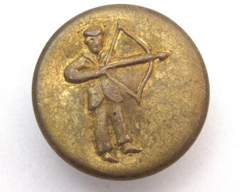 Antique picture button Victorian sporting archer archery man with drawn bow and arrow brass jean suspender button 11/16 inch  28L  18mm