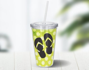 Flip Flops Polka Dots 16 ounce Double Wall Acrylic Cup and Straw