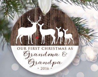 TWINS Our First Christmas as Grandma & Grandpa Personalized Christmas Ornament Grandparents Ornament Godparents Gift FauxWood Keepsake OR325