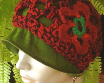 Womens Two Piece Rust Crochet Beanie Hat with Flower and leaf green Skullcap  Chemo Caps  sleep cap