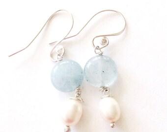 925 Silver Aquamarine and Pearl Drop Earrings