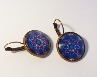 Mandala  Blue Flower earrings Glass Boho earrings Tribal jewelry Mandala jewelry Ethnic earrings