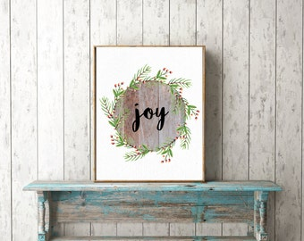Joy - Christmas  Watercolor Digital Print, Instant Download