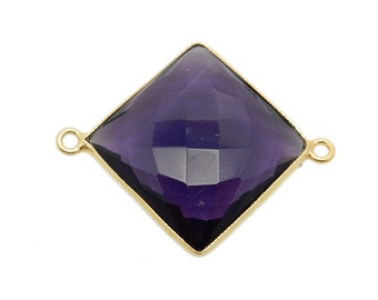 Amethyst Station Square Connector - 20mm Gold Over Sterling Bezel Link - Double Bail Charm Pendant (GP-03)