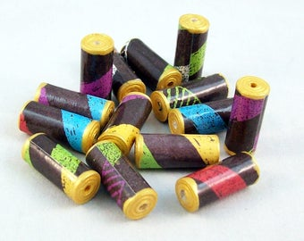 Paper Tube Beads Handmade with Gold Ends (7 bead sets)