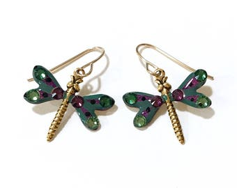 Dragonfly Earrings Sparkling Forest Green and Purple