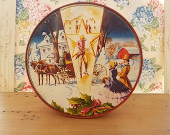 Vintage Christmas Tin. Famous Collin Bakery Fruitcake, Texas. Cowboy