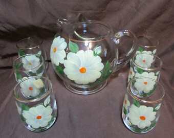 Juice Pitcher and Six Cups, Dunbar Glass Corporation, Handpainted, 1950's