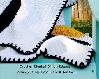 Crochet Blanket Stitch Edging - Crochet PDF Pattern Easy - Easy Crochet Pattern - Beginner Crochet Pattern