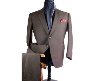 Rare Japanese Handmade True Bespoke Suit 42s 34w Shimizu Olive Brown Portly