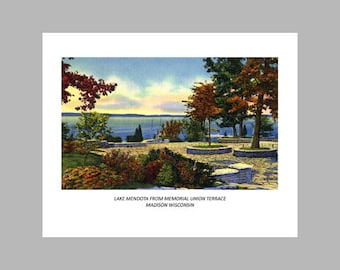Postcard Print - Lake Mendota - Madison Wisconsin - 8x10 Poster Print, Also available in 11x14 and 16x20. Wall Decor, Art Print