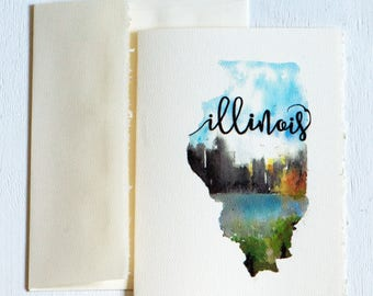 Illinois State Map Art, State Art Card, Christmas Cards, For Co-workers, New year Cards, Illinois Art, Illinois map, Watercolor Illinois