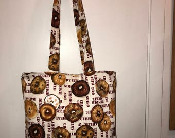 "Bagels!!! w/ matching handles cotton fabric handmade 16"" Tote Bag"