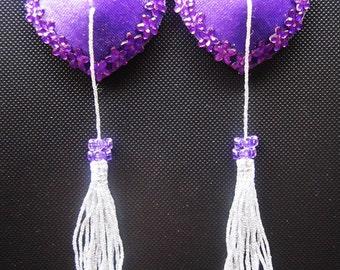 Velvet Bliss burlesque pasties Heart nipple covers w/ silver tassels and Purple flower rhinestones Erotic lingerie Custom made lingerie