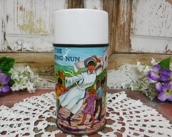 Aladdin thermos/Collectible thermos Bottle/Metal Glass Lined/The Flying Nun TV Show Lunchbox thermos/1968/60's Vintage