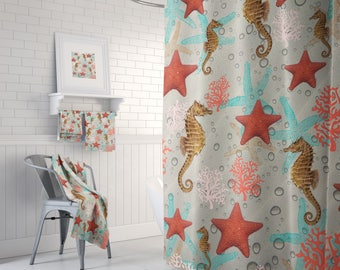 Shower Curtain ,Bathroom Set, Bath Mat, Towels (Optional)  Seahorse Starfish, Beach Theme