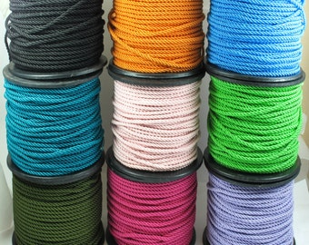 3mm Twisted Rayon Satin Rope Silk Braid Cord, 3 meters