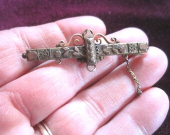 Antique 19c Victorian Ornate Gold Fill Brooch Bar Pin as found