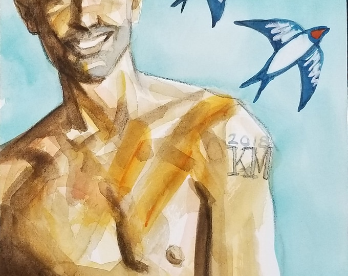 Sailor's Lark, 9x12 inches, watercolor and crayon on cotton paper by Kenney Mencher