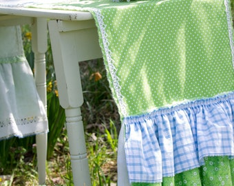 Ruffled Runner - Farmhouse Cottage Shabby - Vintage Embroidere linen - Blue and Green - Flower Basket - Polkadot and Gingham