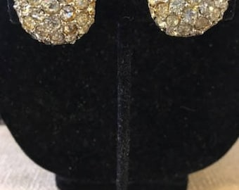 Vintage Crystal Round Clip Earrings, Signed