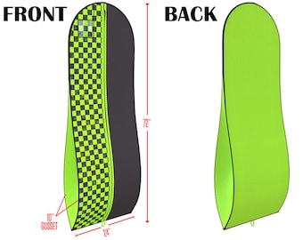 """Black & Lime Green Gusseted Gown Garment Bag for Dresses - Travel Folding Loop, ID Window- 72"""" x 24"""" with 10"""" Tapered Gusset"""