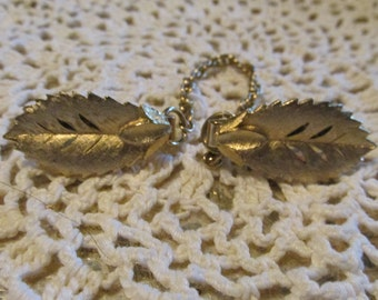 Grammie's Gold Plated SWEATER CLIP Single Leaf Design from 1960's