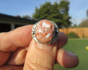 Sterling Silver Mexican Fire Opal Ring - Size 8 - FREE RESIZING