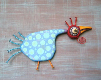 Chicken Cordon Bleu, MADE to ORDER, Bird Wall Art, Original Found Object Wall Sculpture, Wood Carving, Chicken Art, by Fig Jam Studio