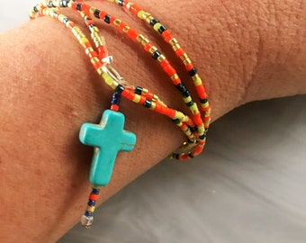 Handmade Glass Seed Bead Mixed Metallic Stretch Layering Bracelet Necklace