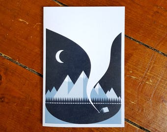 Campfire Greetings Gift Card Outdoors Adventure Winter Mini Print by OR8 DESIGN