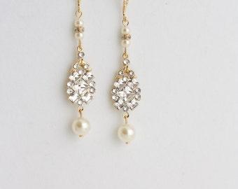 Long Wedding Earrings Gold Bridal Earrings Art Deco Style Swarovski Rhinestone Wedding Jewelry Swarovski Crystal Pearl Wedding Jewelry ANNA