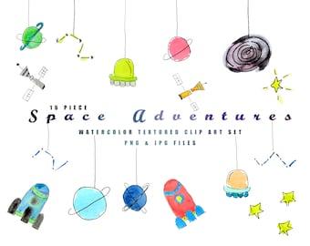 Space Adventures No 1 Watercolor Clip Art l Instant Download