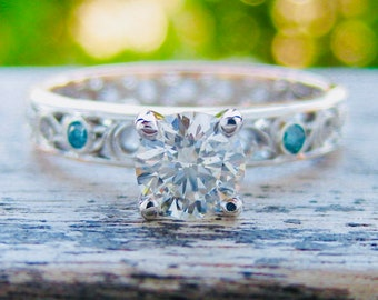 GIA Certified Round Cut Diamond Engagement Ring in Two Tone 14K White and Rose Gold with Teal Blue Diamonds Size 5