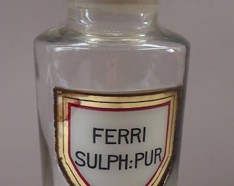 Large Antique Clear Glass Chemist Bottle. FERRI SULPH: PUR with Original Foil Label and Ball Stopper. 9 1/4 inches