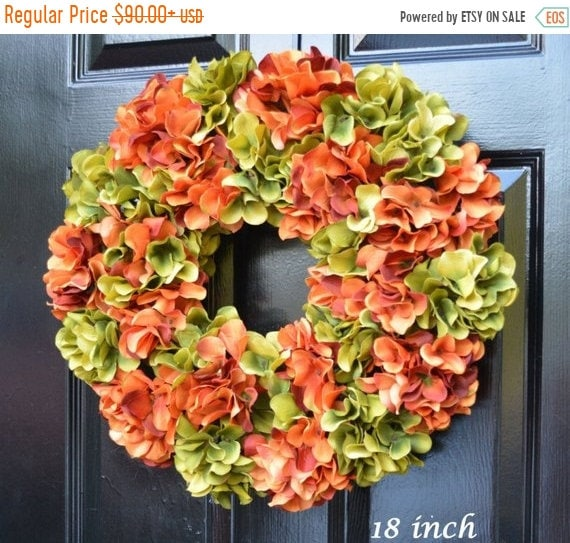 SUMMER WREATH SALE Hydrangea Fall Wreaths, Monogram Hydrangea Wreath, Fall Monogram Wreath, Hydrangea Wreath, Fall Decor Halloween Decor
