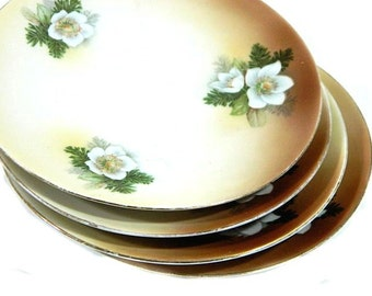 Four Antique German Christmas Dessert Plates Christmas Rose Hellebore and Pine